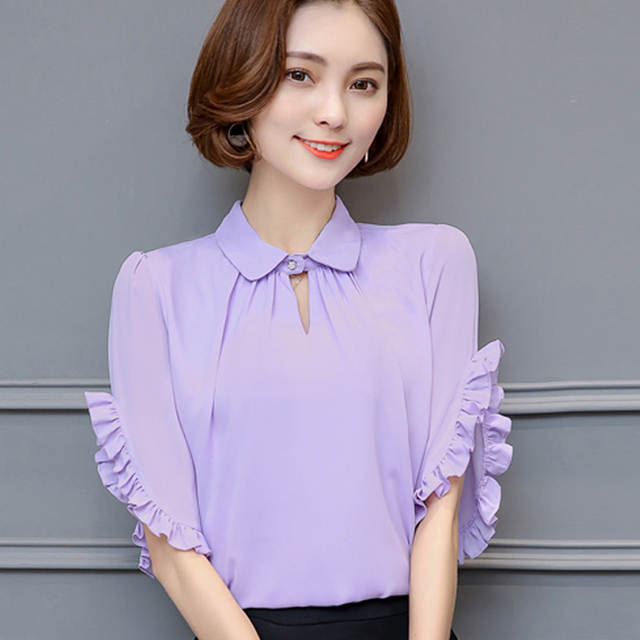ec0747a2515b Chiffon blouse short sleeve spring summer 2017 new Plus size Purple Blue  Pink White women blouses