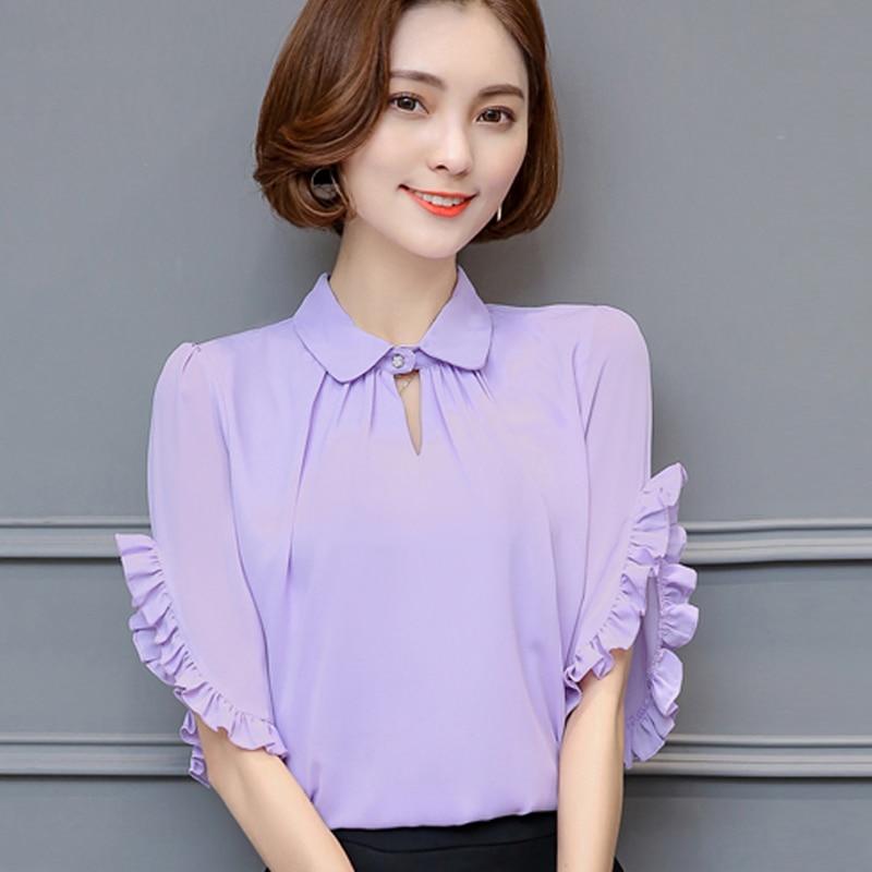 Chiffon   blouse   short sleeve spring summer 2017 new Plus size Purple Blue Pink White women   blouses     shirt   women tops blusas 972A