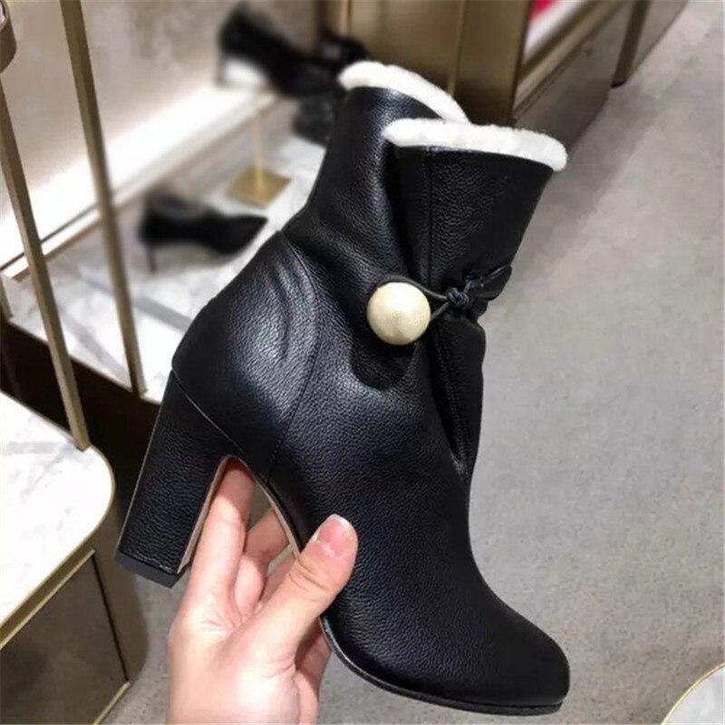 Hiver De Haute Cuir Femme Chaussures Bota Perle Talons Chaud Cuisse Feminina As En Femmes Bottines Fourrure Dames Pic Épais Bottes Cheville nYnwvdgq