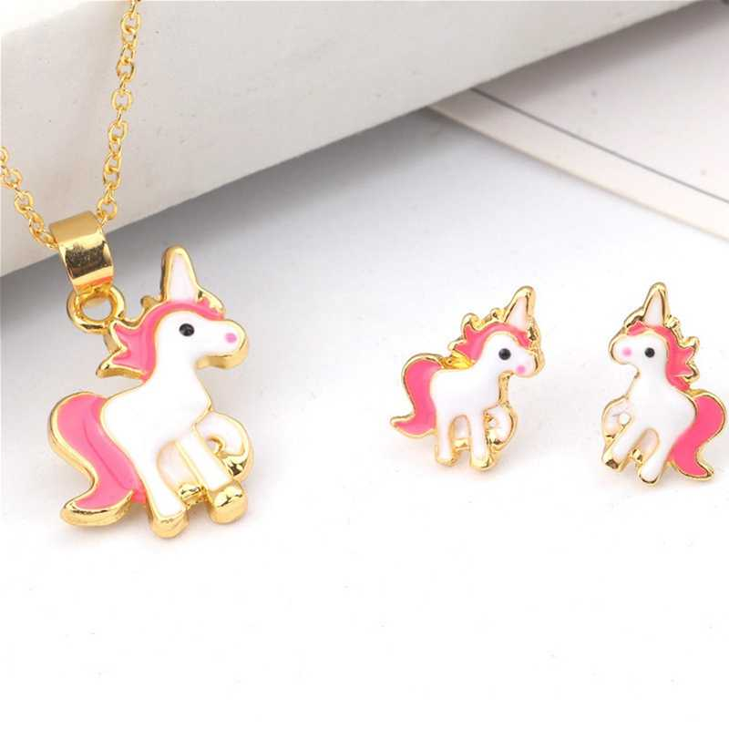 Hot Sale Pink Animal Jewelry Set Children Jewelry Cartoon Horse Unicorn Necklace Earring Unicorn Sets For Girls Best Gifts