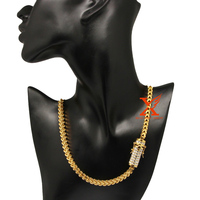 20inch 50cm Mens Necklace Chain Miami Franco 316L Stainless Steel Iced Out Cubic Zirconia CZ Gold