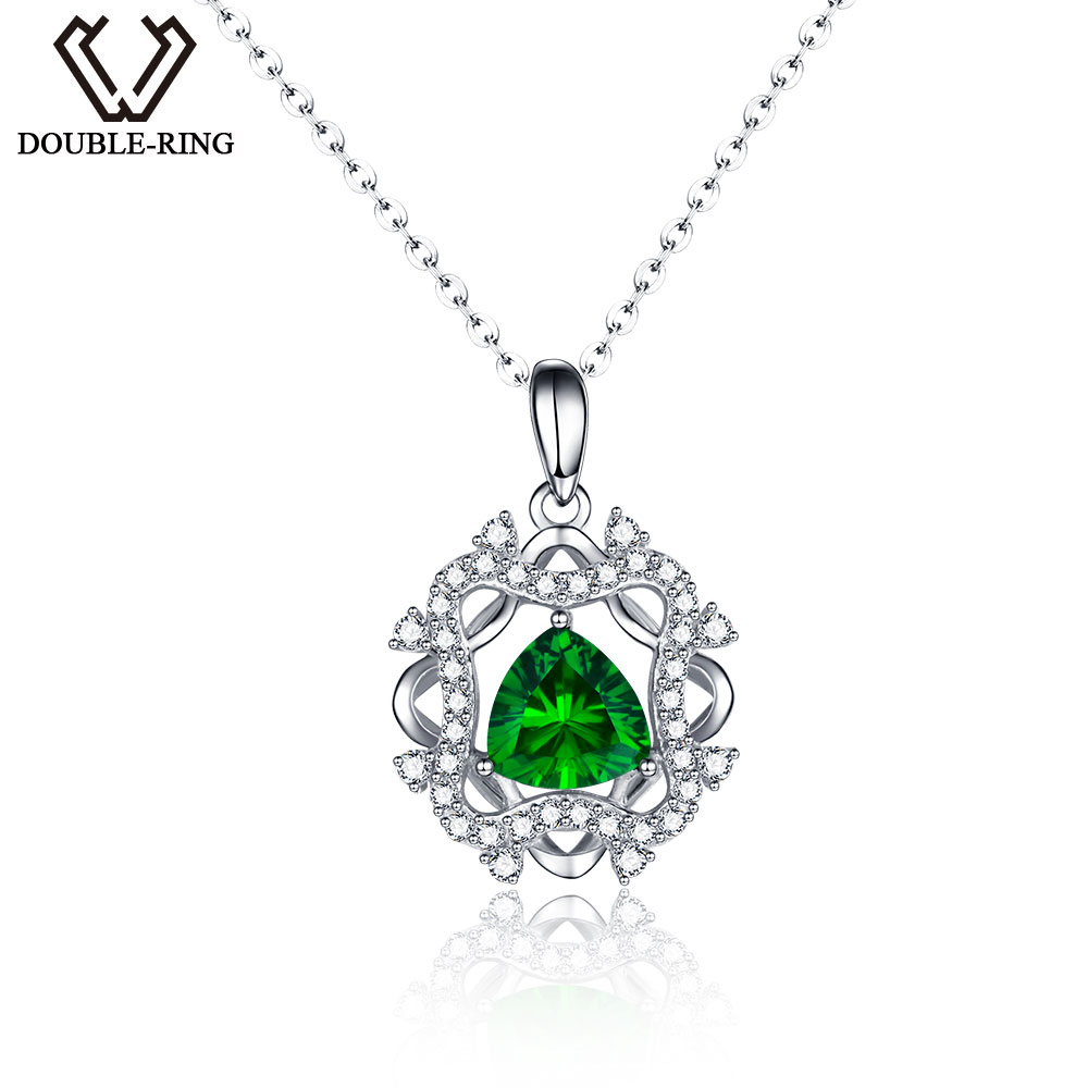 DOUBLE-R Classic Created Emerald Pendants Real Solid 925 Sterling Silver Fine Engagement Wedding Jewelry