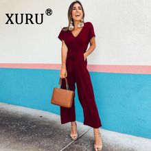 XURU temperament fashion casual chiffon jumpsuit nine pants summer new V-neck solid color womens loose with belt