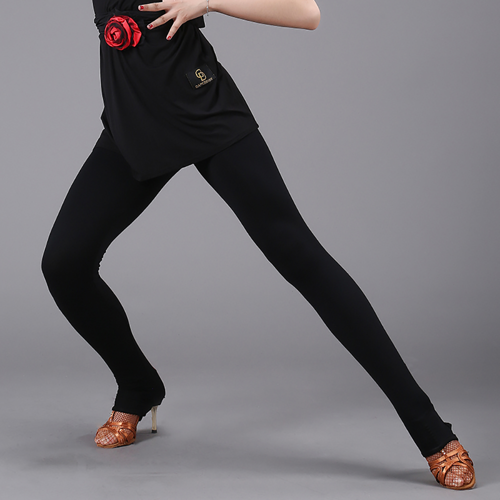 2018 Hot Sexy Lady Latin Dance Leggings For Women Adult Black Bottoms Tango Competition MatcLatino Paso Doble Black Pants DW1033