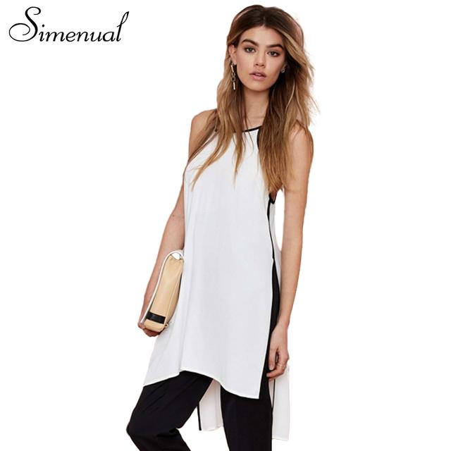 Simenual Side dividir mulheres camis longa camisa sem mangas fêmea 2017 alta moda verão irregular tops strap camisole das senhoras brancas