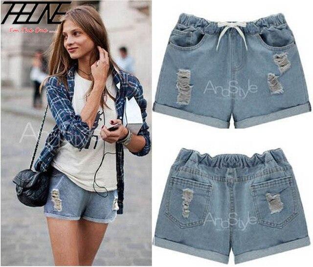 2015 Summer Women Denim Jeans Shorts Plus Size 5XL Elastic Waist Ripped Holes Flange Casual Crimping Hot Trousers Light Blue