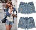 2015 Verão Mulheres Denim Shorts Jeans Plus Size 5XL Elástico Na Cintura Holes Ripped Flange Friso Casuais Quentes Calças Luz Azul
