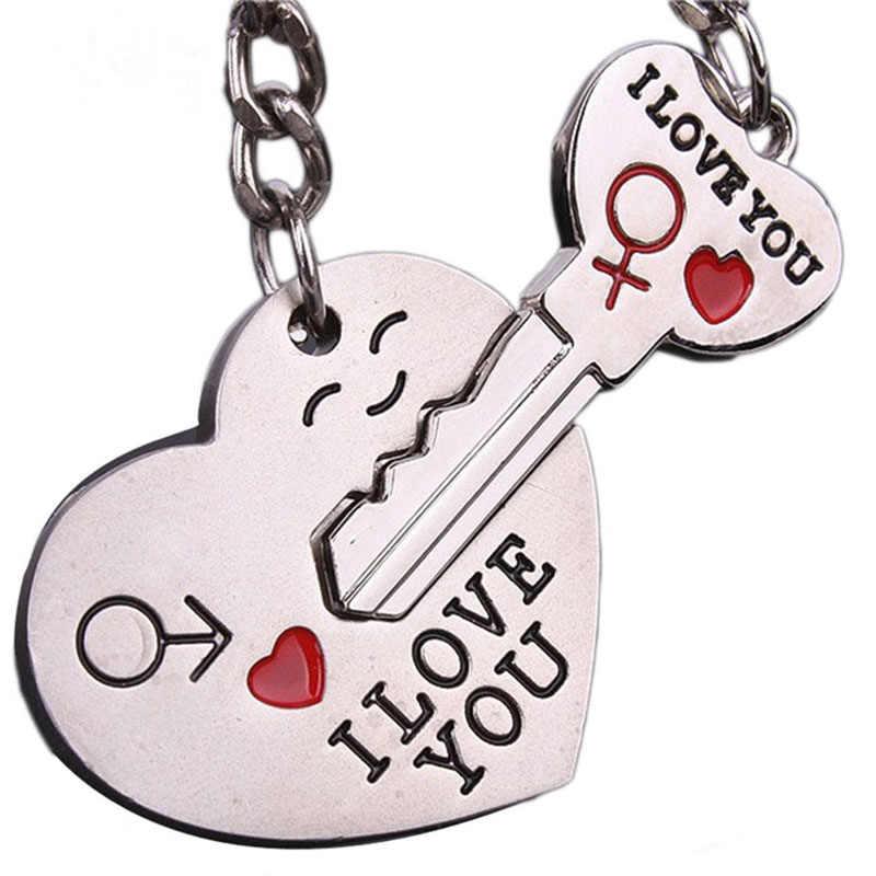 Новая пара I подвеска в форме сердца цепочка для ключей брелок для влюбленных Романтический автомобильный брелок для стайлинга автомобиля Бесплатная доставка