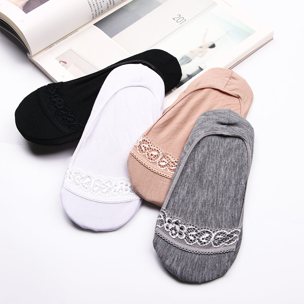 1 Pair Solid Color Thin Girls Women Summer Socks Low Cut Non-slip Invisible Comfortable Soft Cotton Short Boat Socks