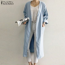 ZANZEA-Camisetas largas de verano para mujer, Rebeca de manga larga, blusa para mujer, camisa de punto abierto, prendas de vestir para la playa, Kimono, abrigo, S-5XL, 2021
