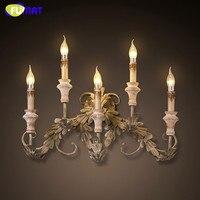 Фумат бра Европейский Винтаж настенные бра свеча E14 LED промышленных бра железного дерева настенный светильник для лестницы
