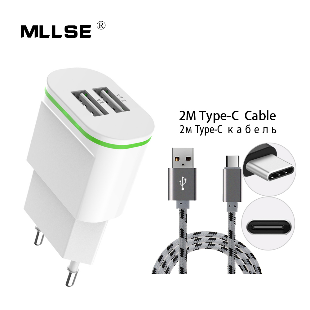 b183b2cd357 Nos enchufe de la UE 2 puertos USB cargador con Cable 5 V 2A adaptador de  pared teléfono móvil tipo C los datos carga para iPhone iPad Samsung Xiaomi