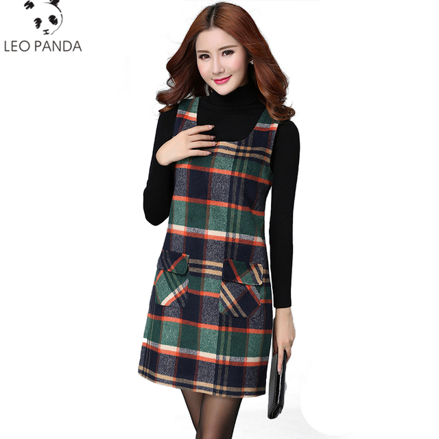 842871cb36cf Women s Dresses Winter Women s Plaid Vest Plus Size Dress Primer ...