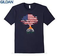 GILDAN T-shirts 2017 Brand Clothes Slim Fit Printing American Flag Tree Indian Roots T-shirt