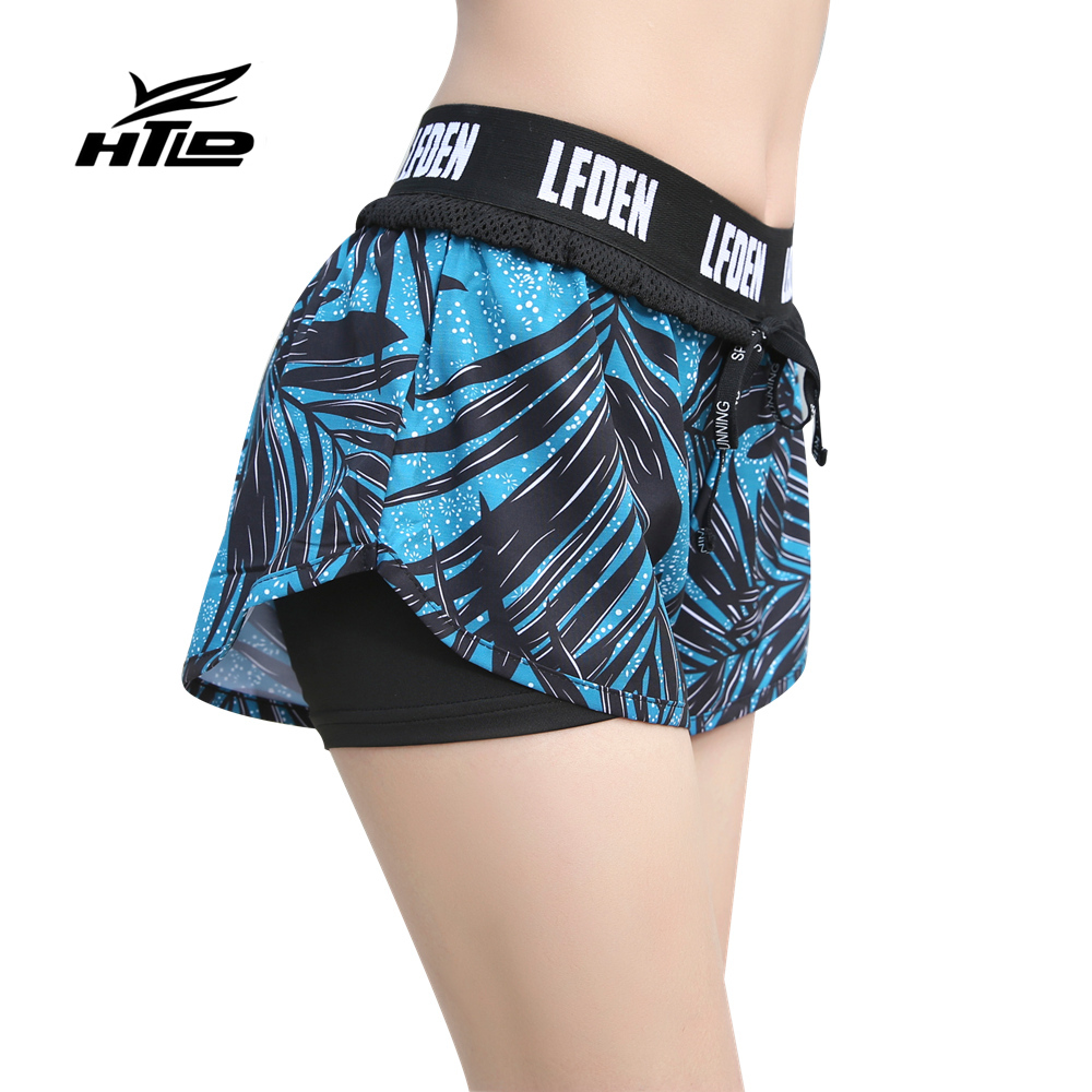 HTLD Quick Dry Elastic Fitness   Shorts   Women Double Layer Letter Summer   Short     Shorts   feminino Joggings pantalones cortos mujer 39