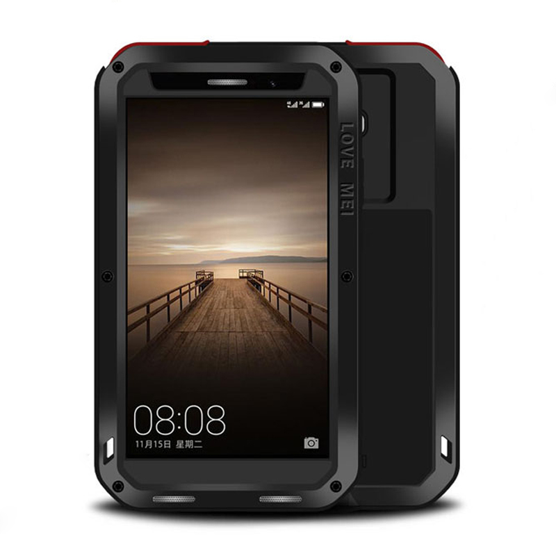 imágenes para Huawei Mate 9 Caso de Aluminio del Metal Armadura A Prueba de Golpes Caja de Lujo + Gorilla Glass de Silicona Para Huawei Ascend Mate 9 Mate9