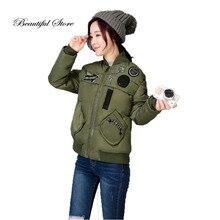 2016 Новая короткая куртка осень зима женщины тонкий хлопка-ватник дамы корея harajuku аппликация бейсбол равномерное верхняя одежда
