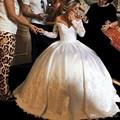Arábica Vestidos De Novia Vintage 2017 Fora Do Ombro Appliqued Frisado Manga Comprida Puffy Vestidos de Casamento Plus Size vestido de Noiva