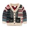 2016090633 Розничная 2016 Весной Мальчик Печати Pattern Однобортный Мальчика Sweatercoat Трикотаж Красивый
