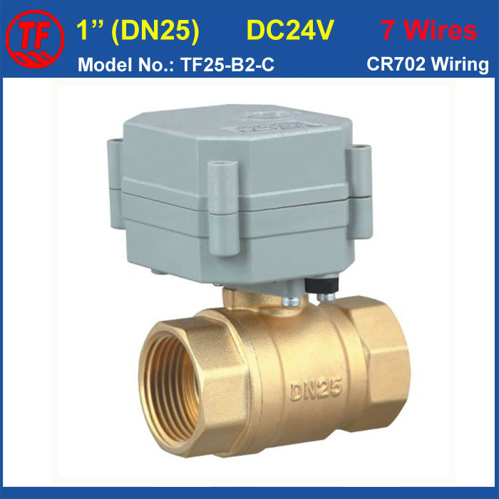 TF Miniature Actuator Valve BSP/NPT 1''  2-Way Motorized Ball Valve With Position Indicator DC24V 7 Wires Brass DN25 Motor Valve mini brass ball valve panel mountable 450psi with lever handle chrome plated malexfemale npt