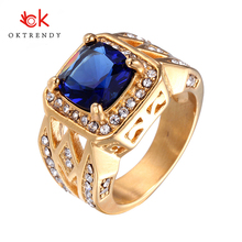 Oktrendy Big Crystal Rings For Women Multicolor Rhinestone Stainless Steel Wedding Female Teen Jewelry Dropship Ring