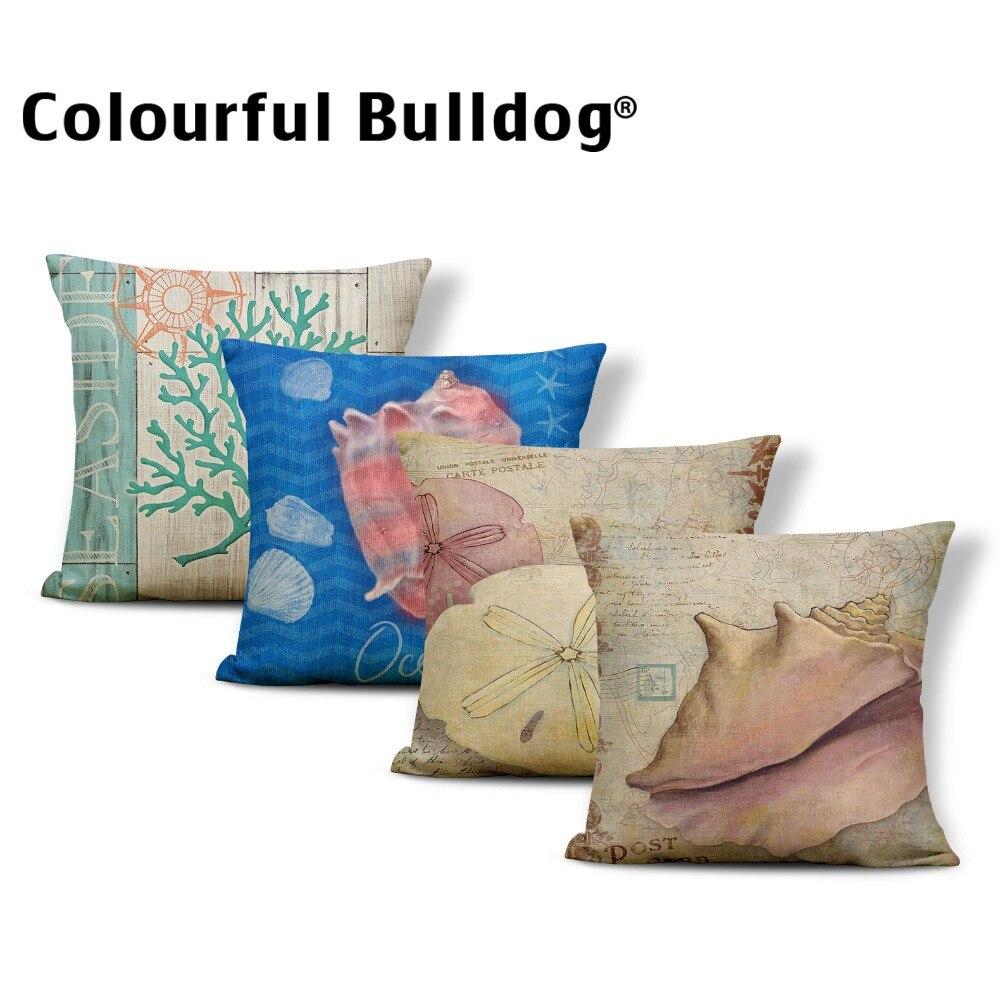 Ocean Cushions Crown Retro Pillow Cushions Conch Coastal Beauty Chair Decor Home Starfish Throw Pillow Case Square Linen Plain
