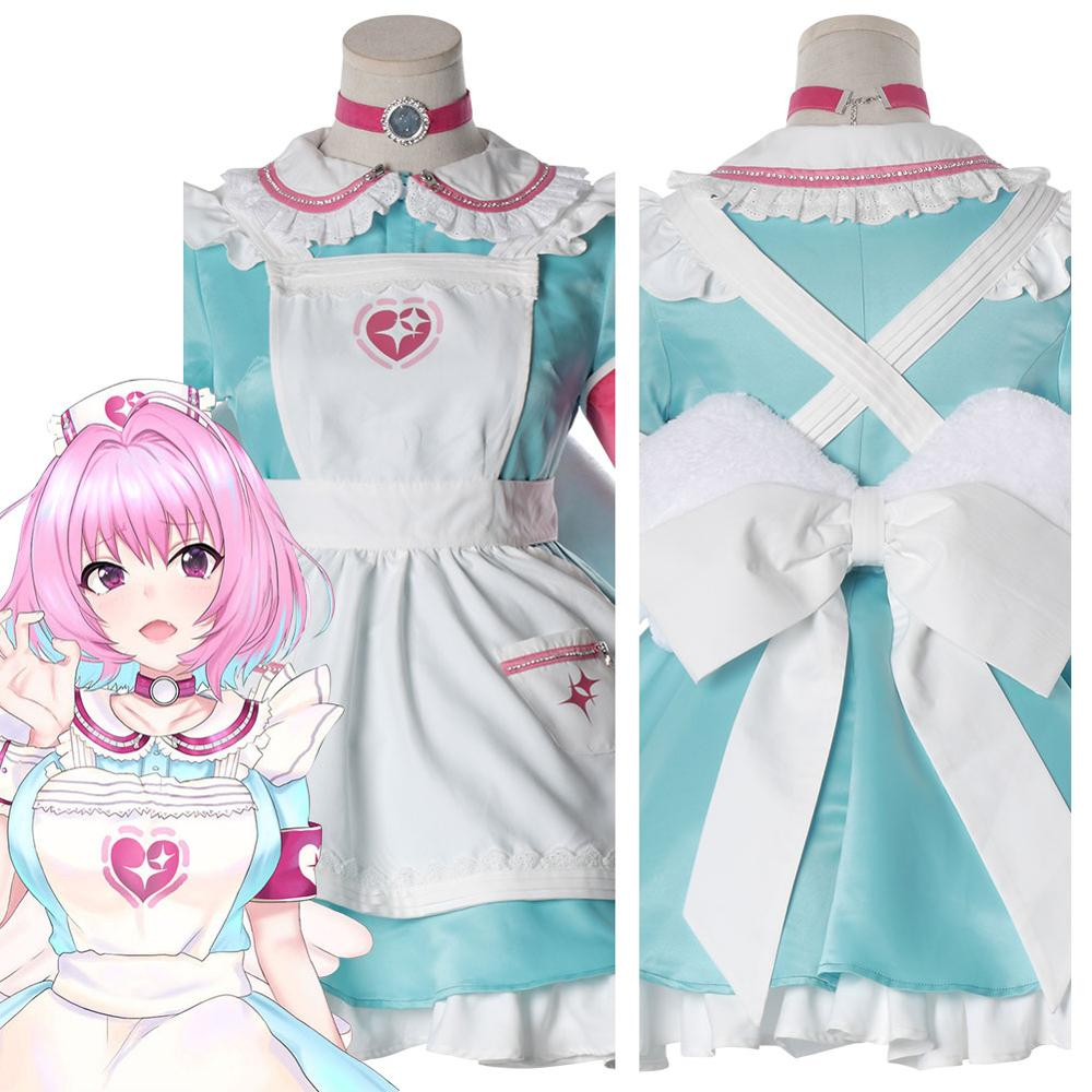 Anime CINDERELLA GIRLS Yumemi Riamu Cosplay Costume Nurse Maid Dress Custom Made Halloween Carnival Costumes Wig