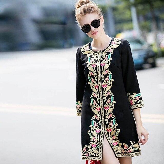 Модная одежда женщин пальто 2016 осень и зима женская одежда покупки онлайн старинные королевская вышивка пальто женщина 3XL