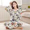 New fashion women Flannel Mickey Mouse pajamas Classic style Cartoon grid elements Lovely girl Home clothing Coral Fleece suit