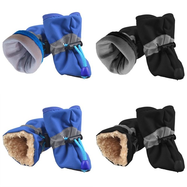 4pcs/set Pet Dog Shoes Puppy Winter Waterproof Anti-slip Rain Snow Boots Footwear Thick Warm For Small Cats Dogs Socks Booties 1