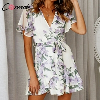 Conmoto Ruffle пляжное летнее платье повседневные короткие сексуальные платья Feminino Цветочные пляжные шифоновые женские платья 2019 Vestido