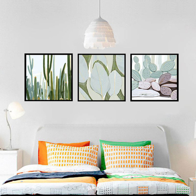 Nordic Abstract Art Watercolor Cactus Green Plants Foliage Simple Canvas  Living Room Entryway Corridor Bedroom Decoration