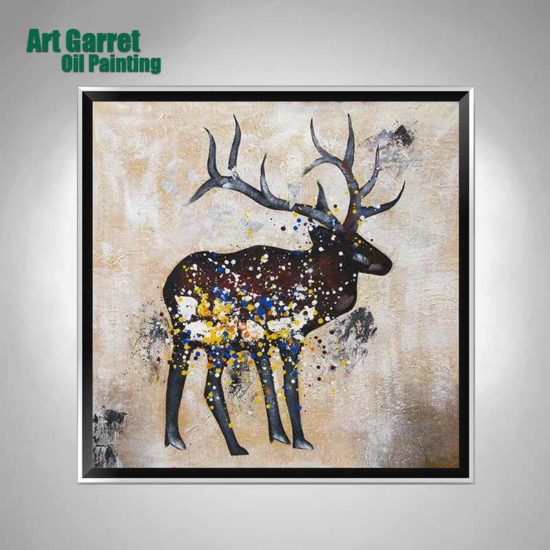Handmade Oil Paintings Canvas Animals Abstract Deer Painting Wall Living Room