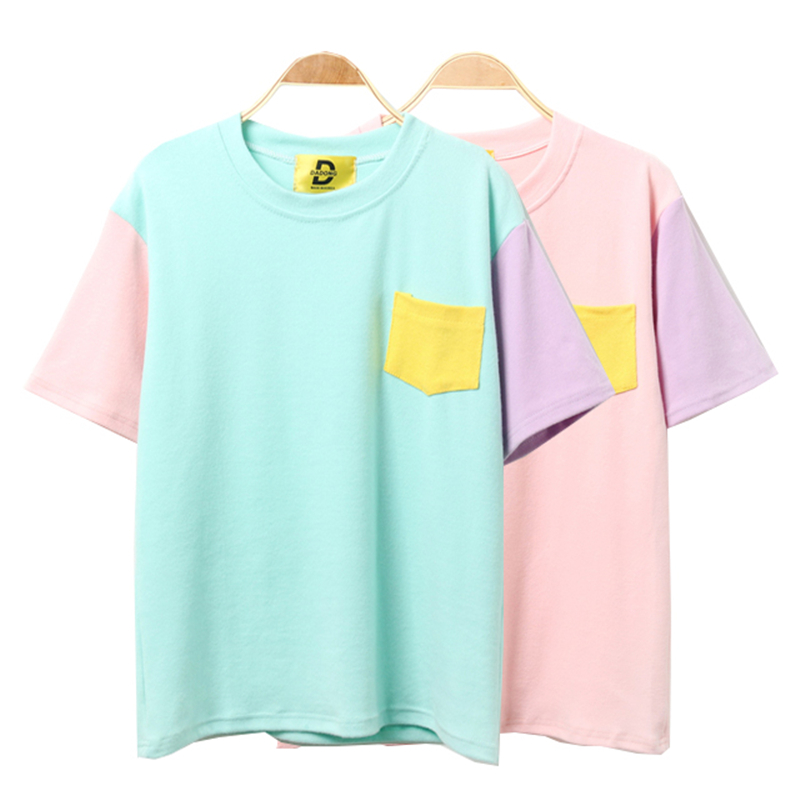 2018 Korean Women Summer Style Fashion Harajuku Patchwork T Shirts Kawaii Cotton Short Sleeve Casual Tee Female Loose Cute Tops kleider weit