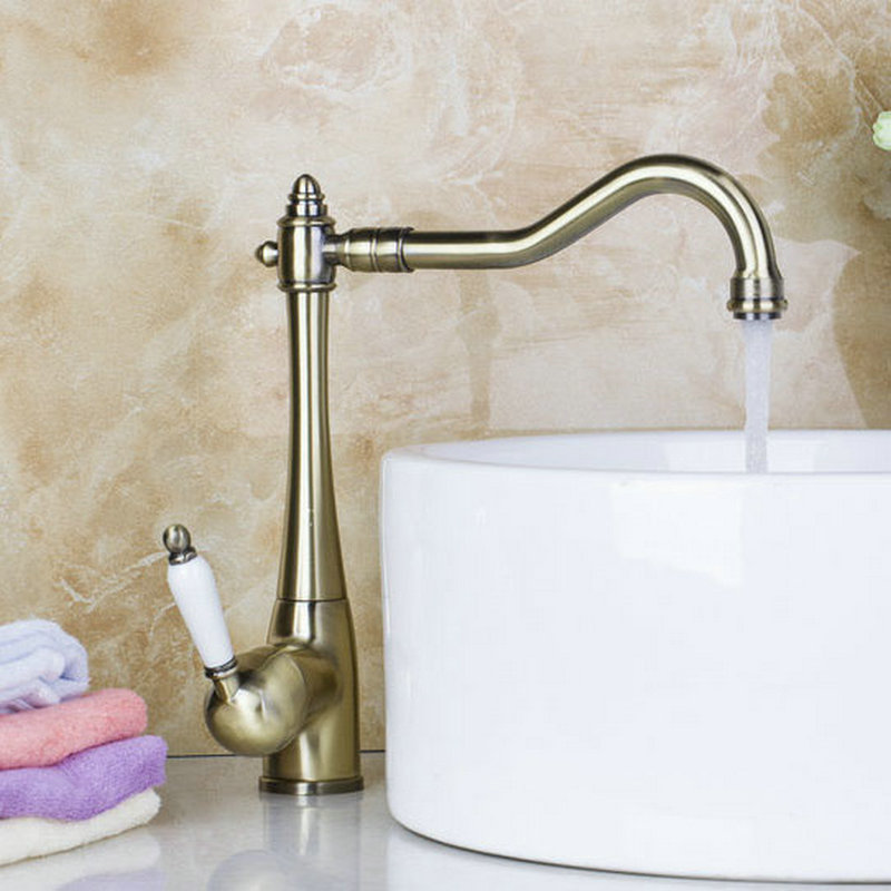 Kitchen Faucets Torneira Cozinha Hot Sales Antique Copper Brass Swivel 360 Single Handle 8414 6 Basin