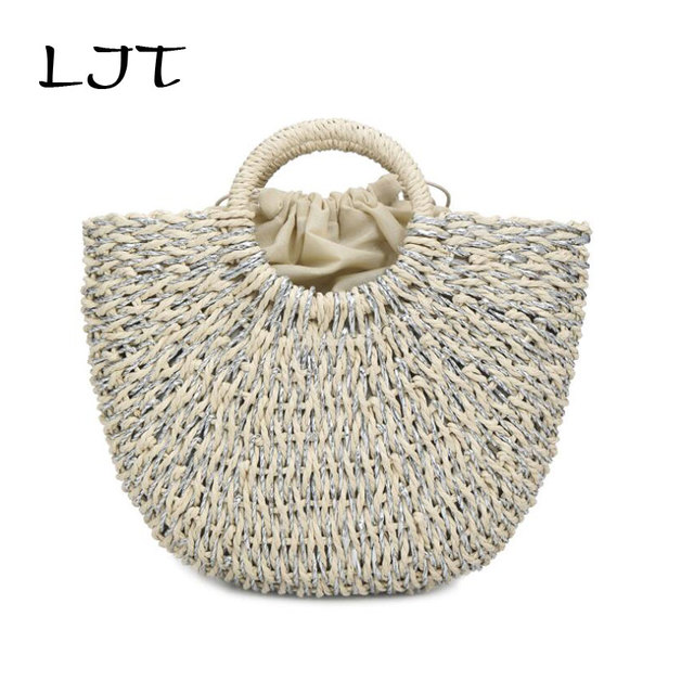LJT Handmade Straw Bag Female Vacation Package 2019 Summer Rattan Weaving Ladies Straw Wrapped Beach Bag Moon Shaped Travel Bag