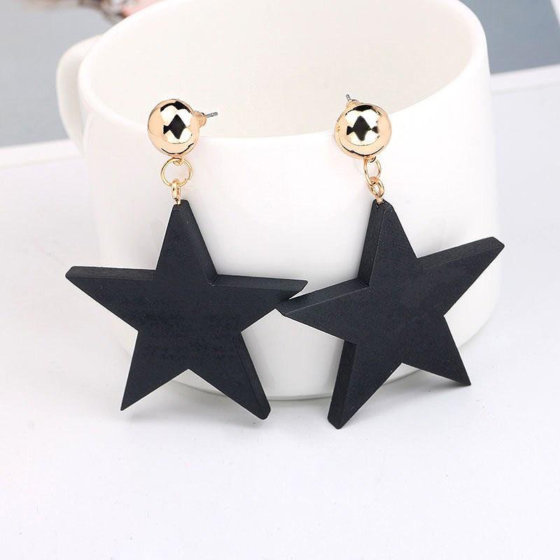 LNRRABC Alloy Drop Shipping Girls Simple Environmental Korean Black Star 1Pair New Wood Allergy Graceful Women Drop Earrings ...