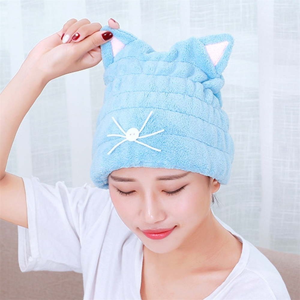 Lovely Cat Soft Drying Towel Bath Strong Absorbing Quick Dry Hair Hat Cap Microfiber Shower Coral Velvet Hair Drying Wrap Towel