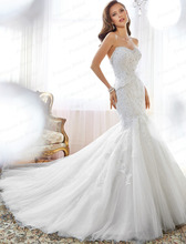 Women's Amazing Design Bride Dress Mermaid Sweetheart Corset Back Lace Appliques Sweep Train 2015 Wedding Dress Gown Y11553