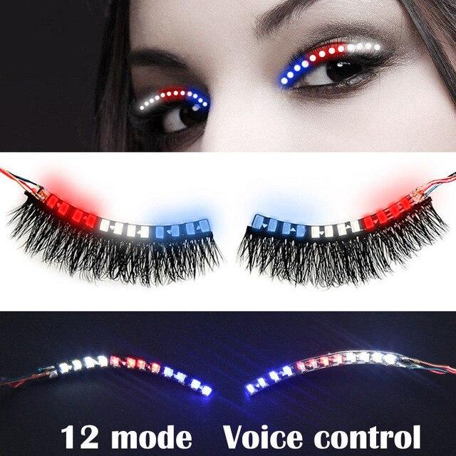 ca84358b743 Colorful LED Eyelashes Luminous Shining Eyelash For Halloween Christmas Party  Bar Makeup Unisex LED Light Eyelid False Eyelashes