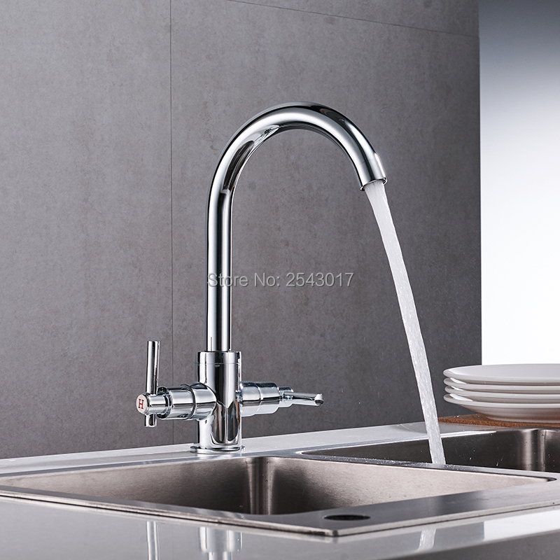 GIZERO High Quality Chrome Faucet Kitchen Mixer Dual Handle 360 Rotation Swivel Faucet Hot and Cold Taps ZR692GIZERO High Quality Chrome Faucet Kitchen Mixer Dual Handle 360 Rotation Swivel Faucet Hot and Cold Taps ZR692