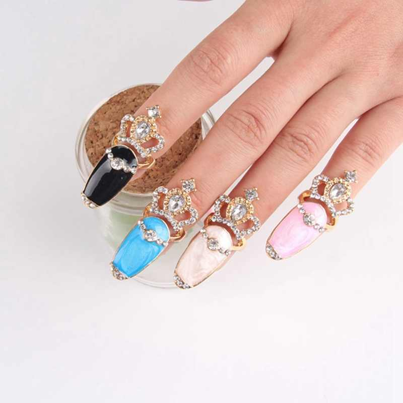 Fashion Crystal Crown Rhinestone Flower Ring Joint Nail Rings Gold Color Wholesale For Women Jewelry