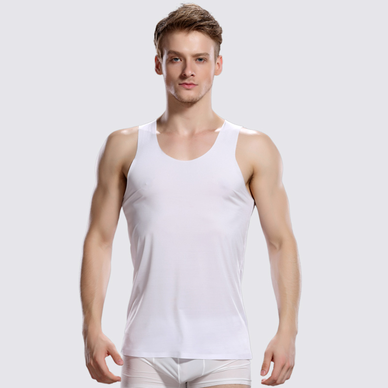 New Brand Clothing Ultra-thin Ice Silk Men Undershirt Breathable Chaleco Hombre Sleeveless Sexy Tshirt Knitted Underwear