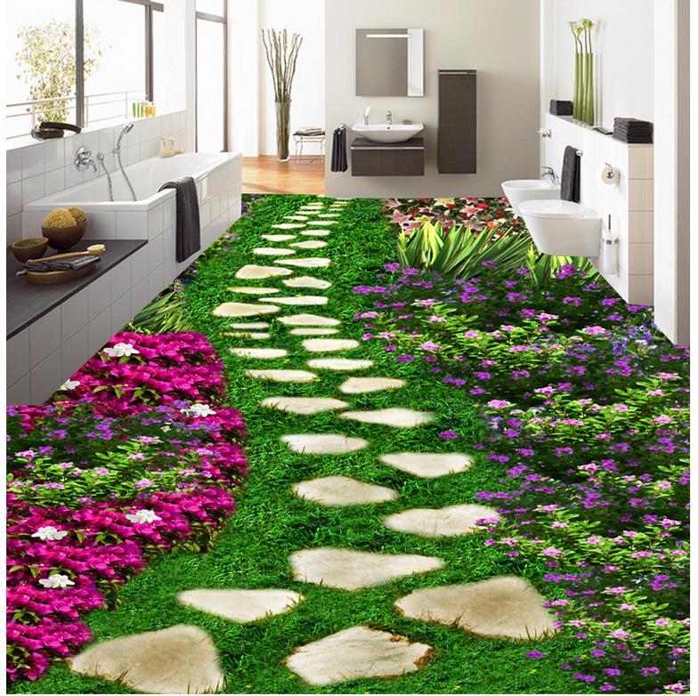Road flower Floor wallpaper 3d for bathrooms Custom photo floor wallpaper 3d self-adhesive 3D floor PVC waterproof floor