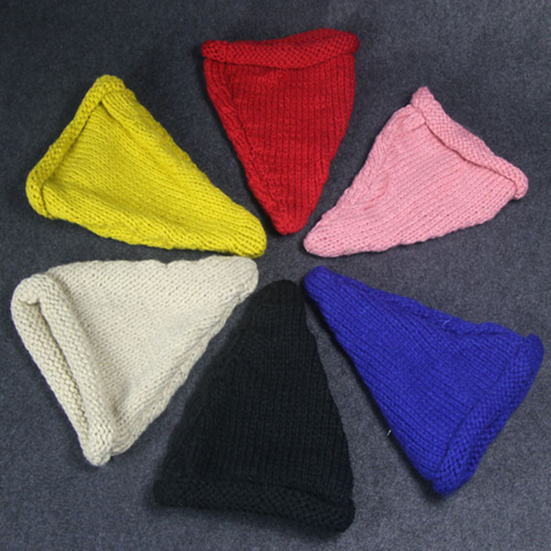 Winter knitted hats small pointed toe knitted hat winter hat female Wizard hat winter