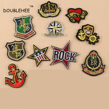 DOUBLEHEE Badge Crown Ship Anchor Shield Embroidered Iron On Patches Embroidery DIY Coat Shoes Accessories