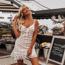 2019 new arrival summer women dress sexy bow lace party dresses Embroidered ruffle femme vestidos