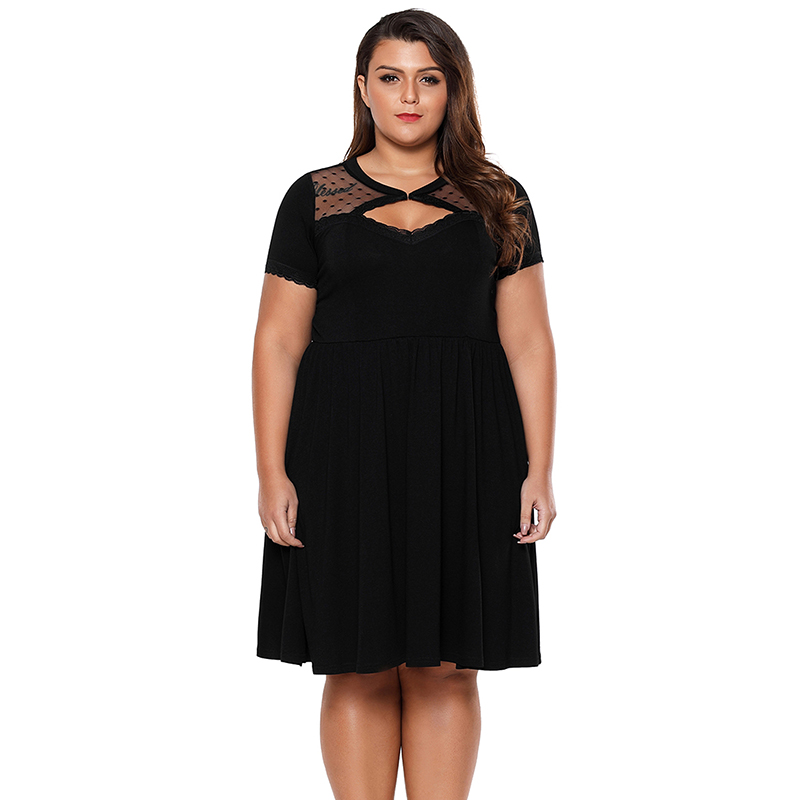 2daab3667170a Sebowel Black Dot Mesh Skater Dress Plus Size 4XL Women Short Sleeve Nightclub  Dress Big Size Sexy Hollow Out Midi Party Dresses-in Dresses from Women s  ...