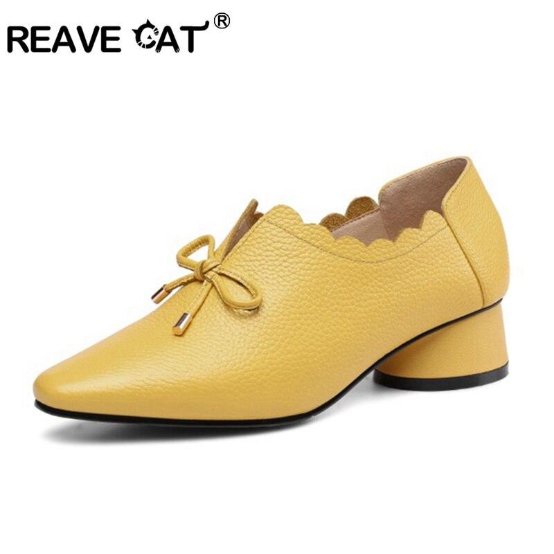 REAVE القط أحذية النساء مضخات ميد الكعب جولة اصبع القدم جلد طبيعي الربيع الخريف الأحذية كعب سميك بوتاس feminino موهير A1394-في أحذية نسائية من أحذية على  مجموعة 1