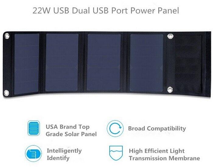 BUHESHUI haute efficacité 22 W Fordable chargeur de panneau solaire Portable double USB chargeur solaire Sunpower panneau solaire livraison gratuite